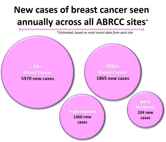 New cases of breast cancer seen annually across all ABRCC sites